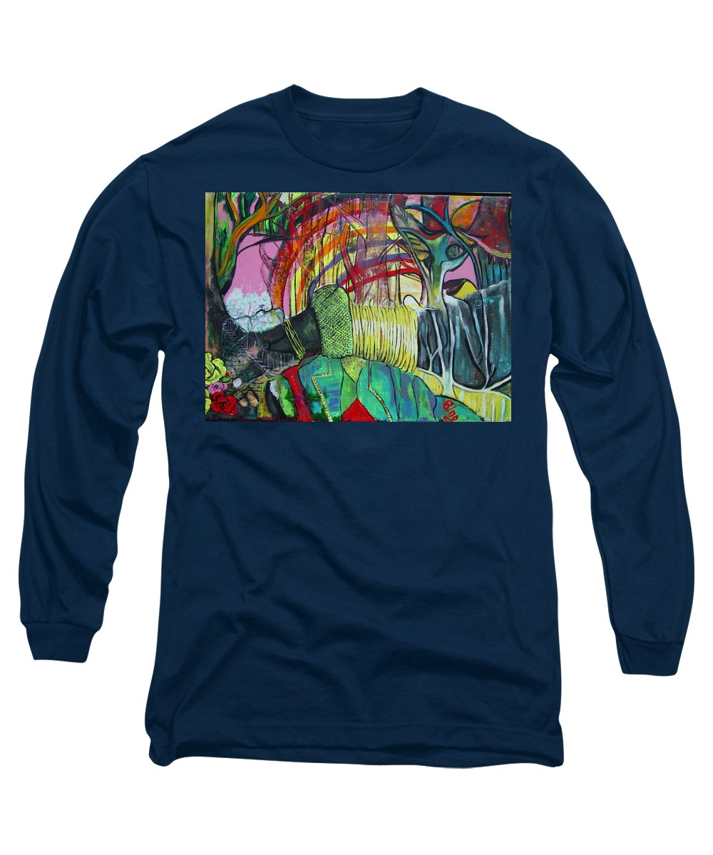 African Lady With Baby Long Sleeve T-Shirt featuring the painting African Roots by Peggy Blood