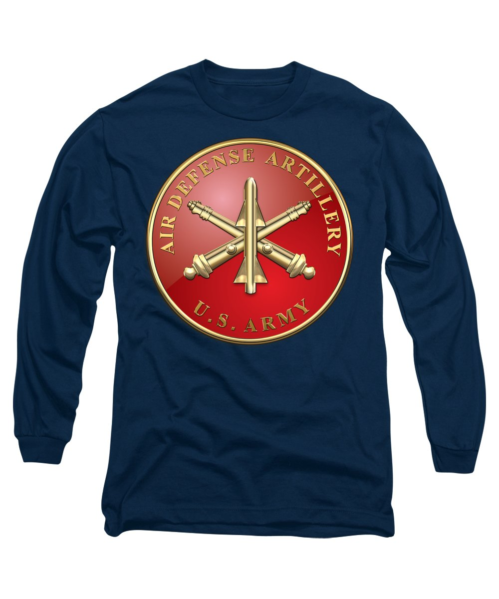 'usmc' Collection By Serge Averbukh Long Sleeve T-Shirt featuring the digital art Air Defense Artillery - Ada Branch Insignia Over Blue Velvet by Serge Averbukh