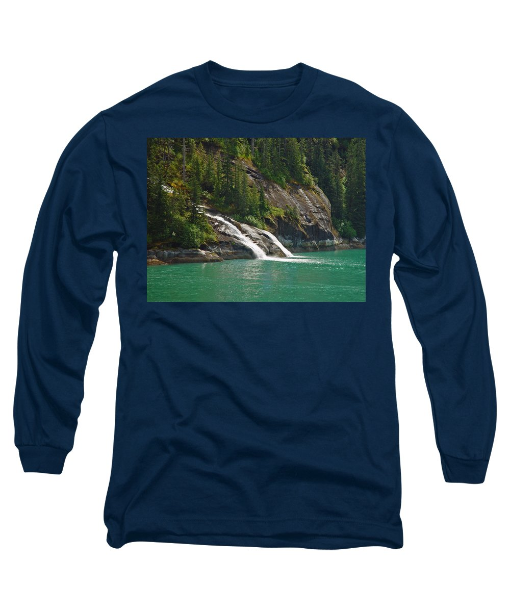 Waterfall Long Sleeve T-Shirt featuring the photograph Alaska Tracy Arm by Heather Coen