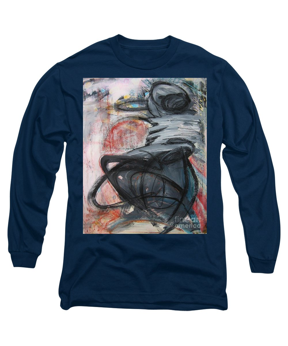 Abstract Paintings Paintings Long Sleeve T-Shirt featuring the painting All Alone by Seon-Jeong Kim