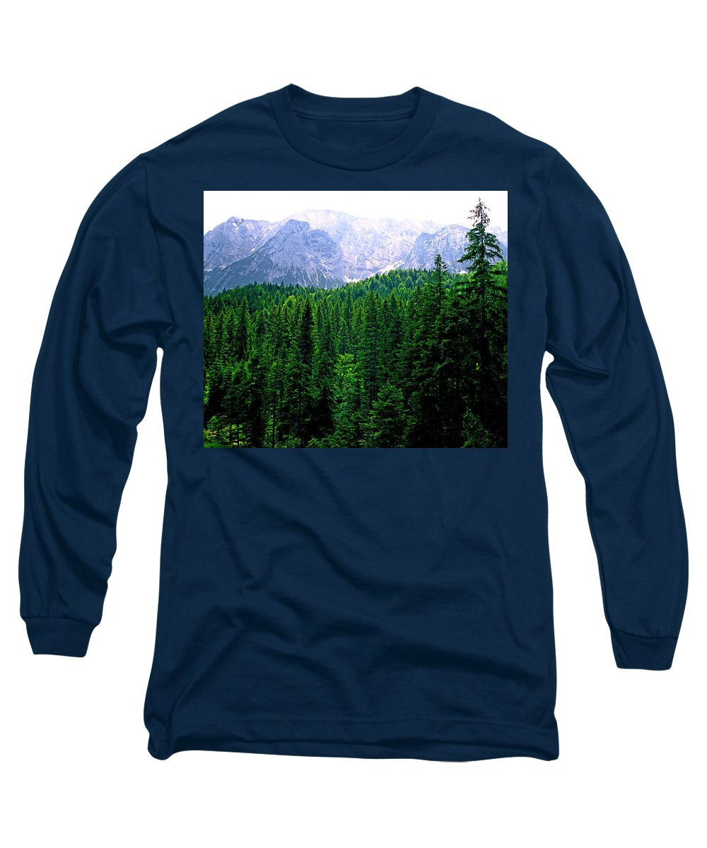 Bavaria Long Sleeve T-Shirt featuring the photograph Alpine Forest by Kevin Smith