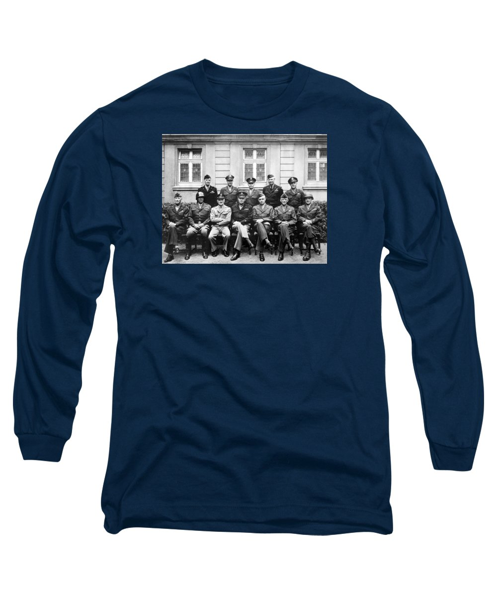 Dwight Eisenhower Long Sleeve T-Shirt featuring the photograph American Generals Wwii by War Is Hell Store