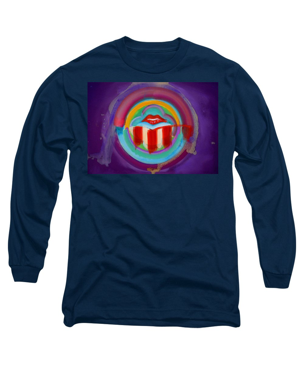 Button Long Sleeve T-Shirt featuring the painting American Kiss by Charles Stuart