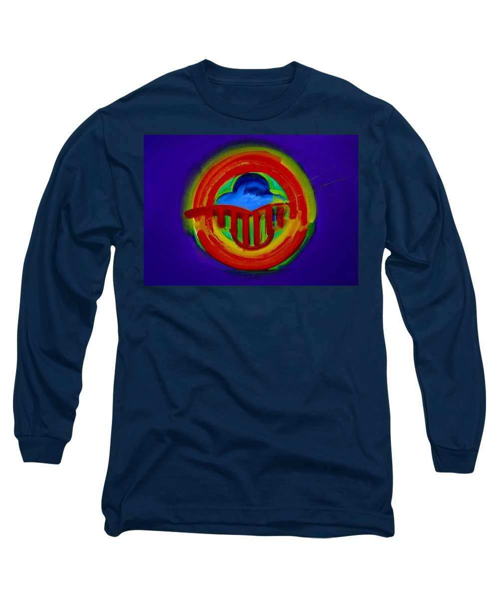 Button Long Sleeve T-Shirt featuring the painting American Power Button by Charles Stuart