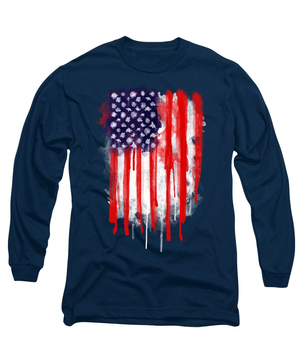 America Long Sleeve T-Shirt featuring the painting American Spatter Flag by Nicklas Gustafsson