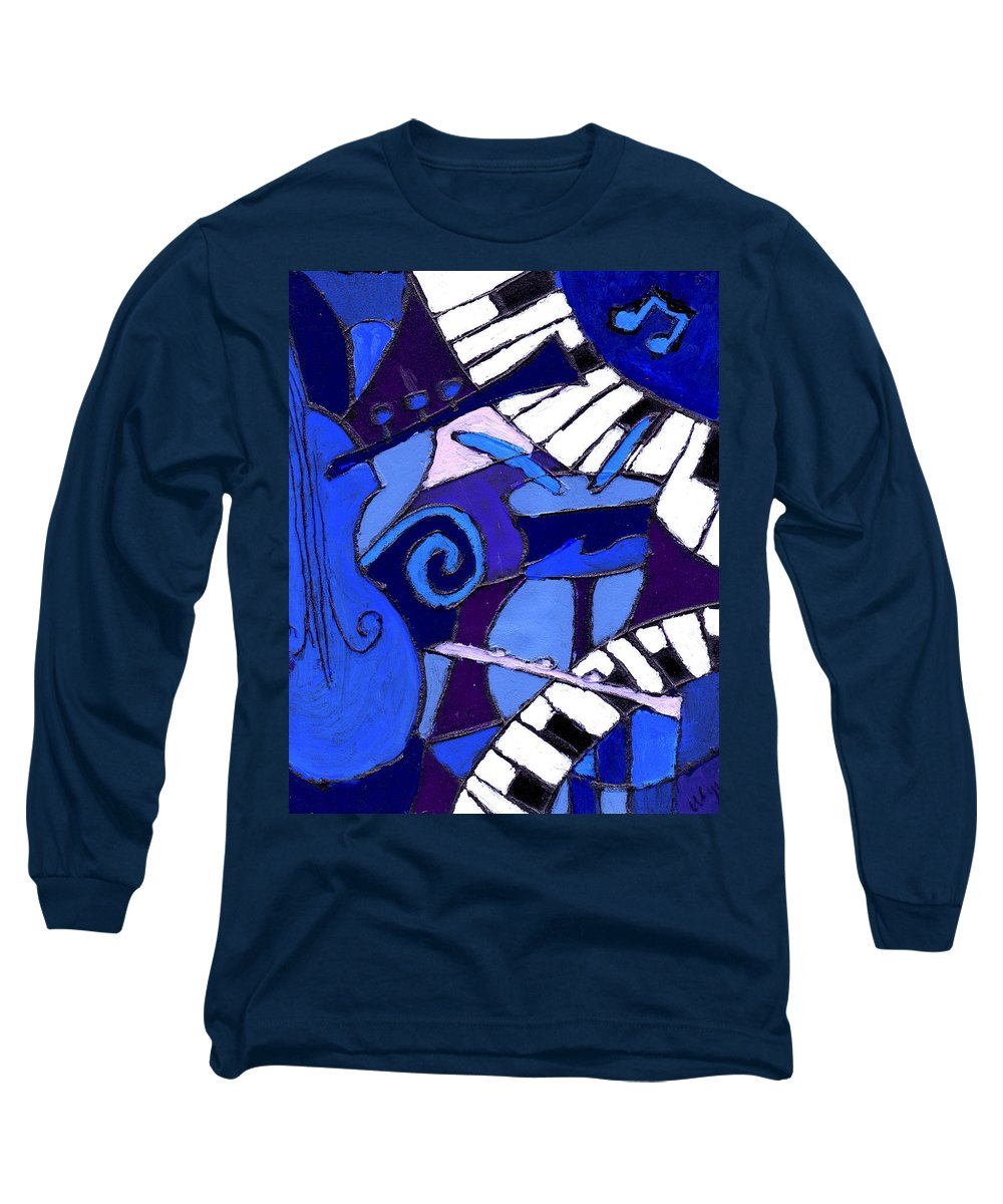Blues Long Sleeve T-Shirt featuring the painting and All that Jazz 3 by Wayne Potrafka