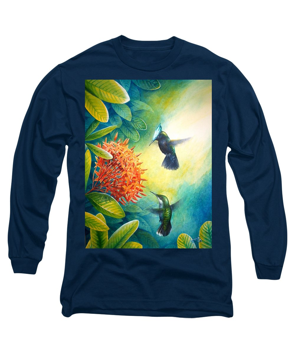 Chris Cox Long Sleeve T-Shirt featuring the painting Antillean Crested Hummingbirds And Ixora by Christopher Cox