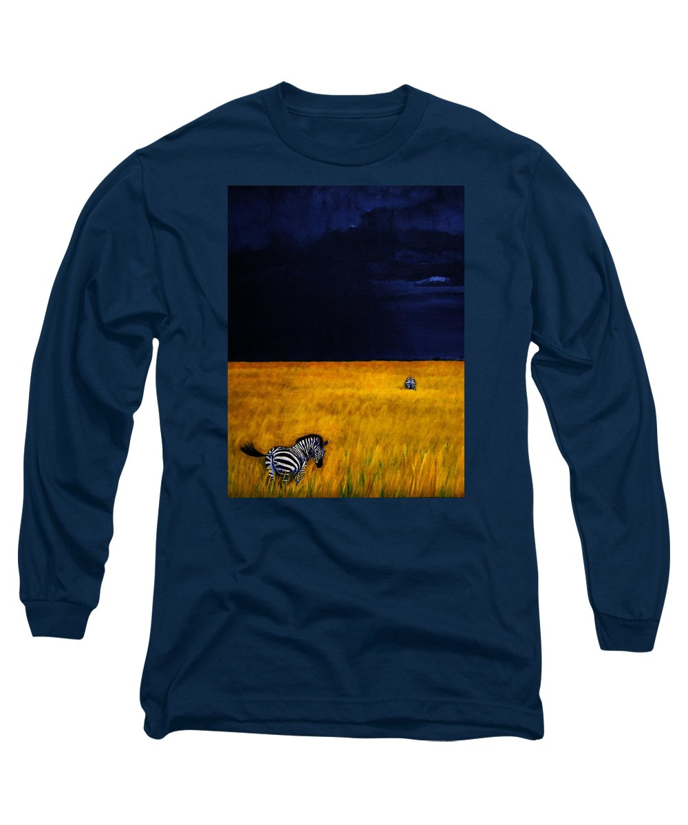 African Landscape Zebra Storm Clouds Edith Peterson Watson Scenery Nature Animals Wildlife Long Sleeve T-Shirt featuring the painting Approaching Storm by Edith Peterson-Watson