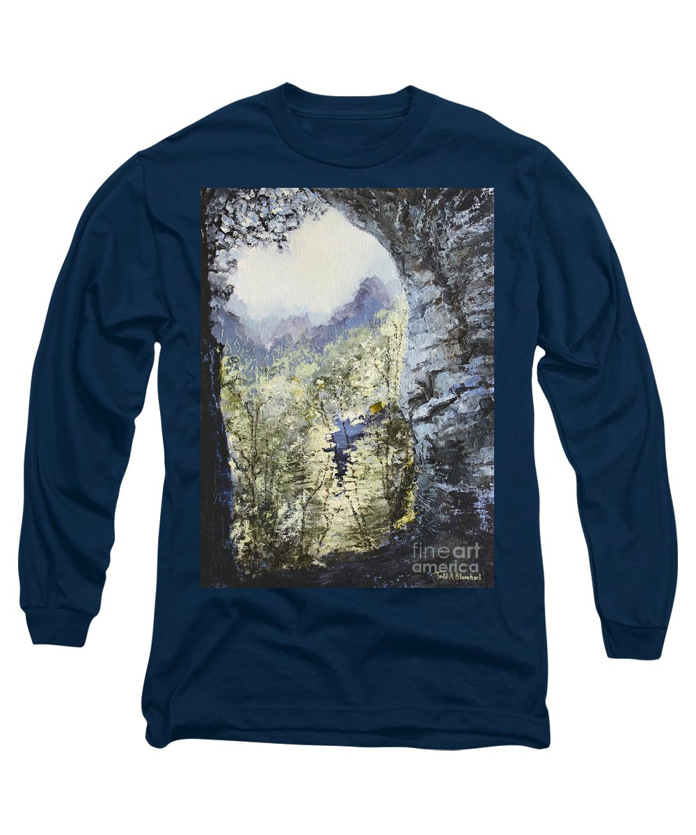 Landscape Long Sleeve T-Shirt featuring the painting Around The Bend by Todd Blanchard