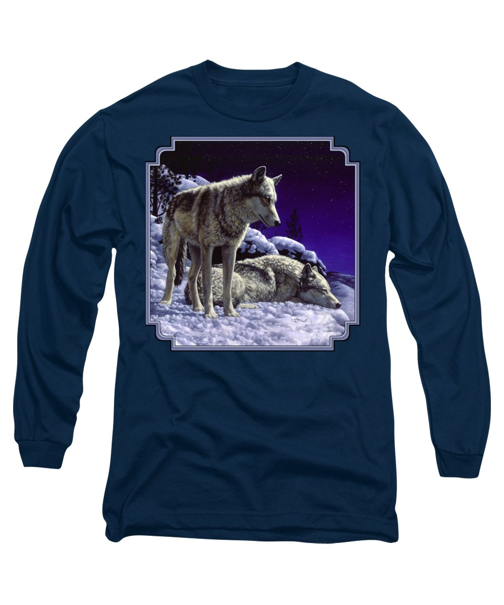Wolf Long Sleeve T-Shirt featuring the painting Wolf Painting - Night Watch by Crista Forest