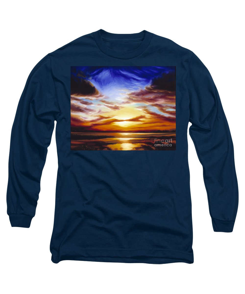 Skyscape Long Sleeve T-Shirt featuring the painting As The Sun Sets by James Christopher Hill