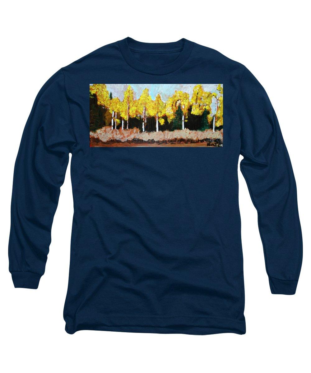 Fall Long Sleeve T-Shirt featuring the painting Aspens by Kurt Hausmann