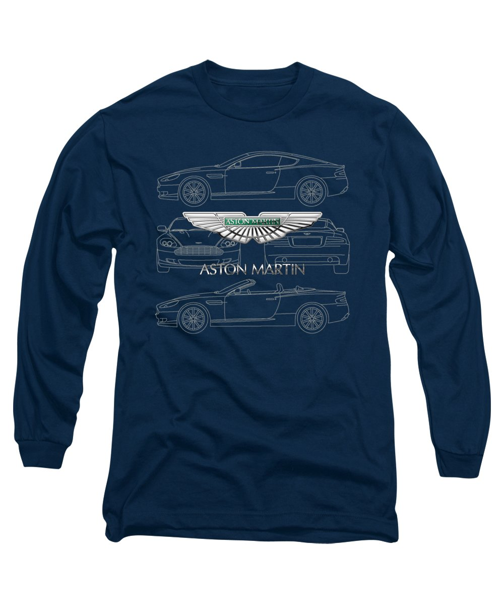 Wheels Of Fortune By Serge Averbukh Long Sleeve T-Shirt featuring the photograph Aston Martin 3 D Badge Over Aston Martin D B 9 Blueprint by Serge Averbukh