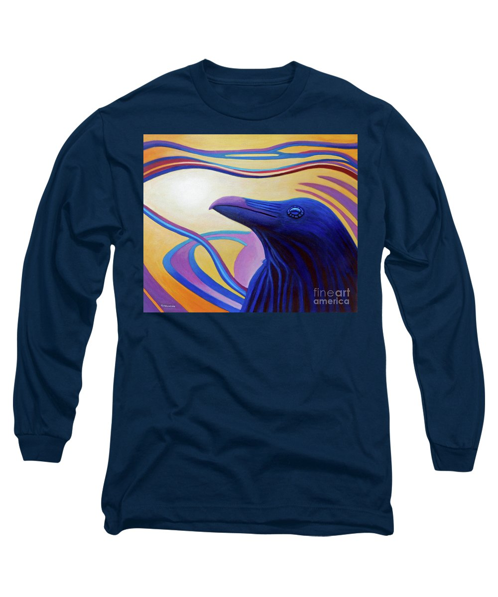 Raven Long Sleeve T-Shirt featuring the painting Astral Raven by Brian Commerford