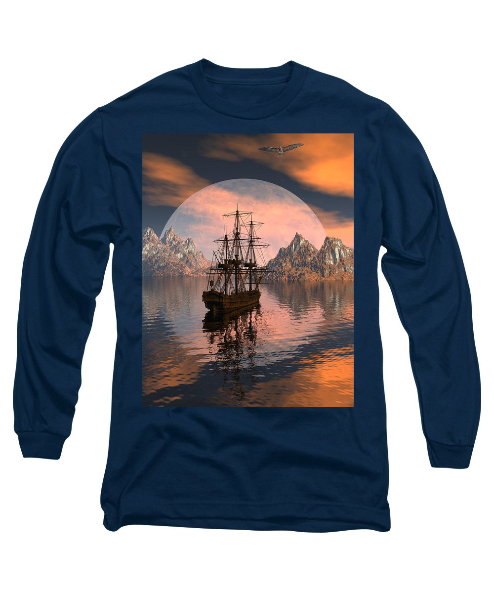 Bryce 3d Digital Fantasy Scifi Windjammer Sailing Long Sleeve T-Shirt featuring the digital art At Anchor by Claude McCoy