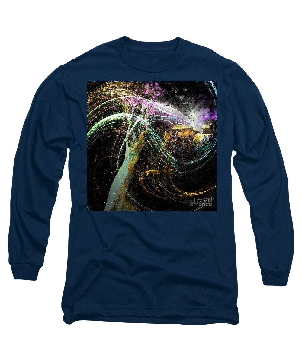 Fantasy Long Sleeve T-Shirt featuring the painting At The End Of The Cosmos by Miki De Goodaboom