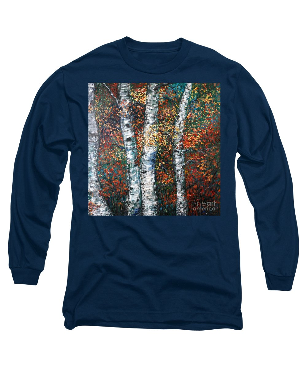Birch Long Sleeve T-Shirt featuring the painting Autumn Birch by Nadine Rippelmeyer
