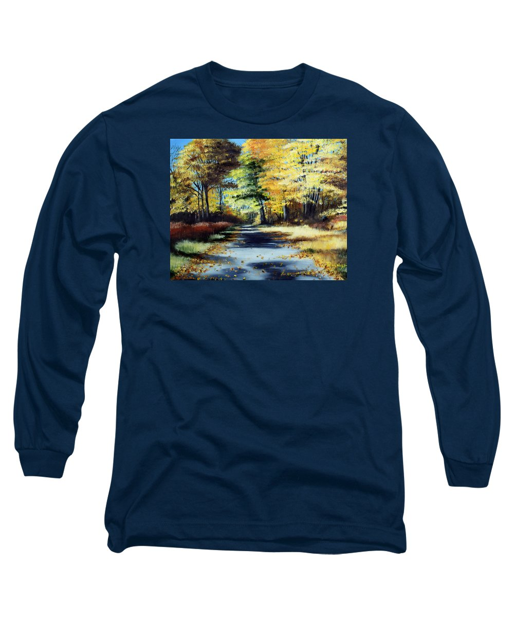 Landscape Long Sleeve T-Shirt featuring the painting Autumn Colors by Paul Walsh