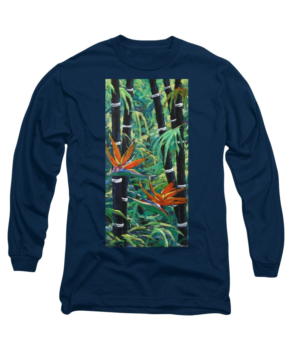Bamboo Long Sleeve T-Shirt featuring the painting Bamboo And Birds Of Paradise by Richard T Pranke