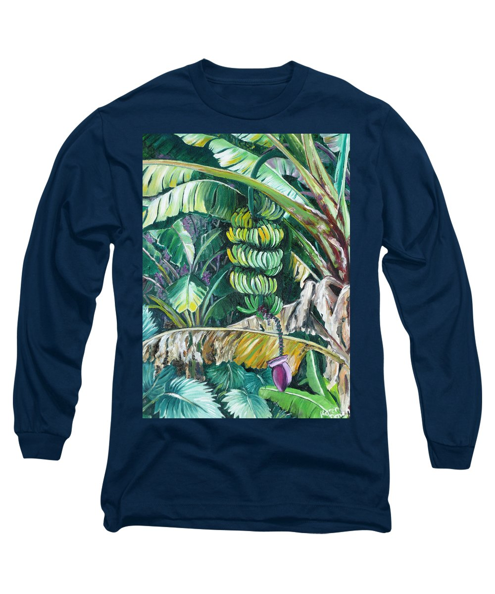 Caribbean Painting Bananas Trees P Painting Fruit Painting Tropical Painting Long Sleeve T-Shirt featuring the painting Bananas by Karin Dawn Kelshall- Best