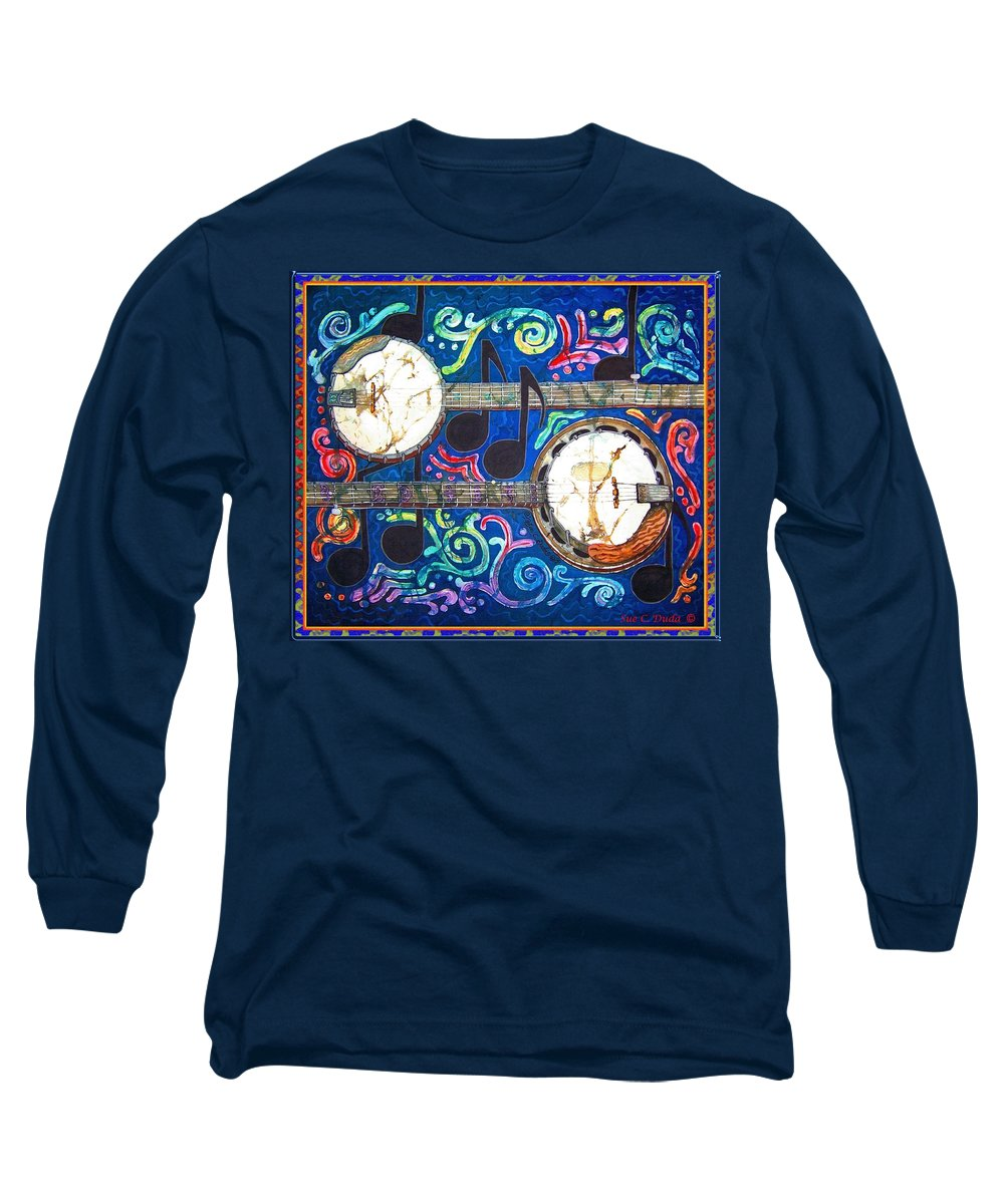 Banjo Long Sleeve T-Shirt featuring the painting Banjos - Bordered by Sue Duda