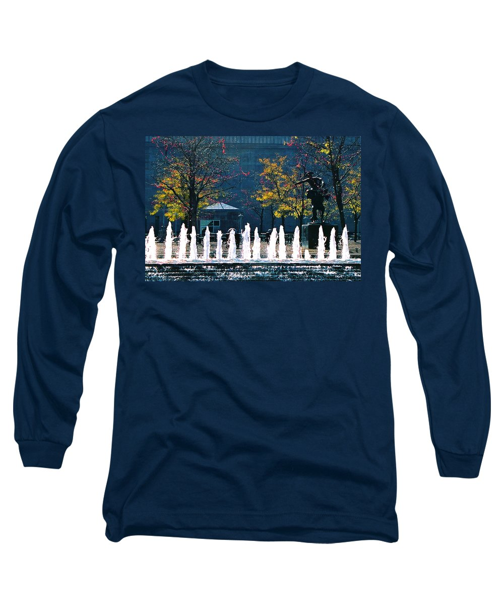 Landscape Long Sleeve T-Shirt featuring the photograph Barney Allis Plaza-kansas City by Steve Karol