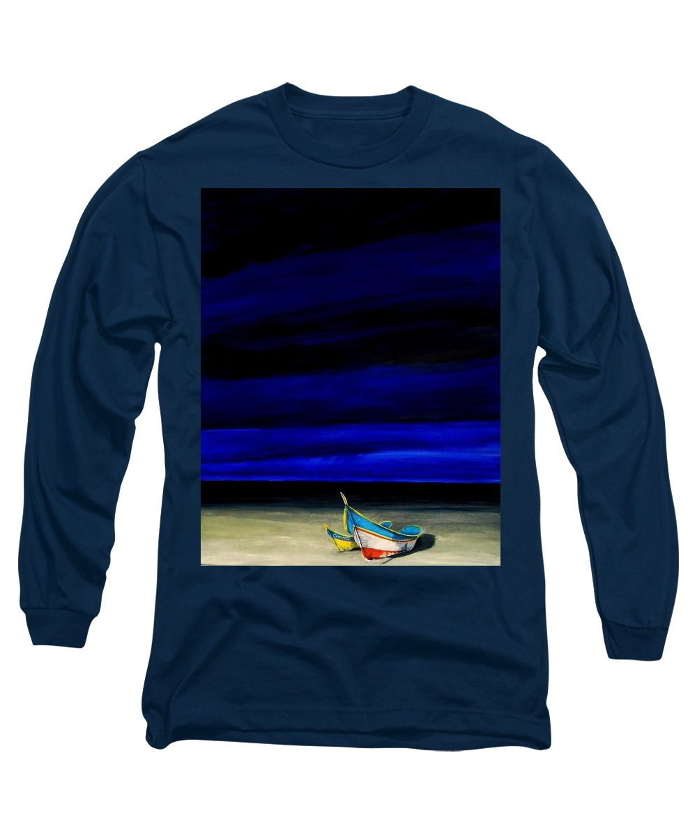 Landscape Painting Long Sleeve T-Shirt featuring the painting Beached by Edith Peterson-Watson