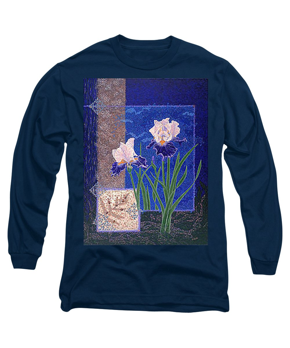 Irises Long Sleeve T-Shirt featuring the painting Bearded Irises Fine Art Print Giclee Ladybug Path by Baslee Troutman
