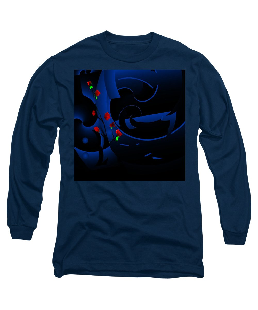 Abstract Long Sleeve T-Shirt featuring the digital art Blue Abstract by David Lane