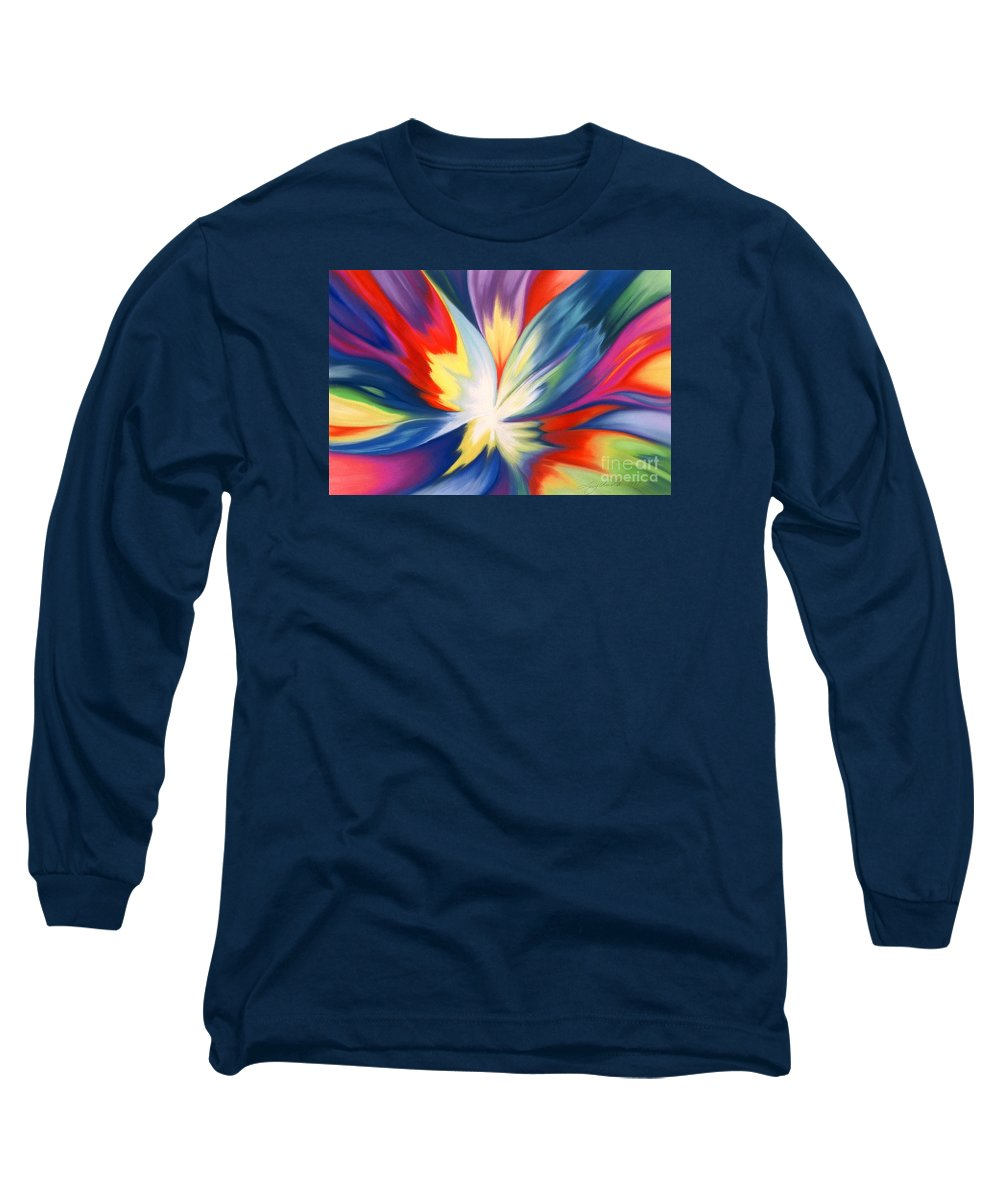 Abstract Long Sleeve T-Shirt featuring the painting Burst Of Joy by Lucy Arnold