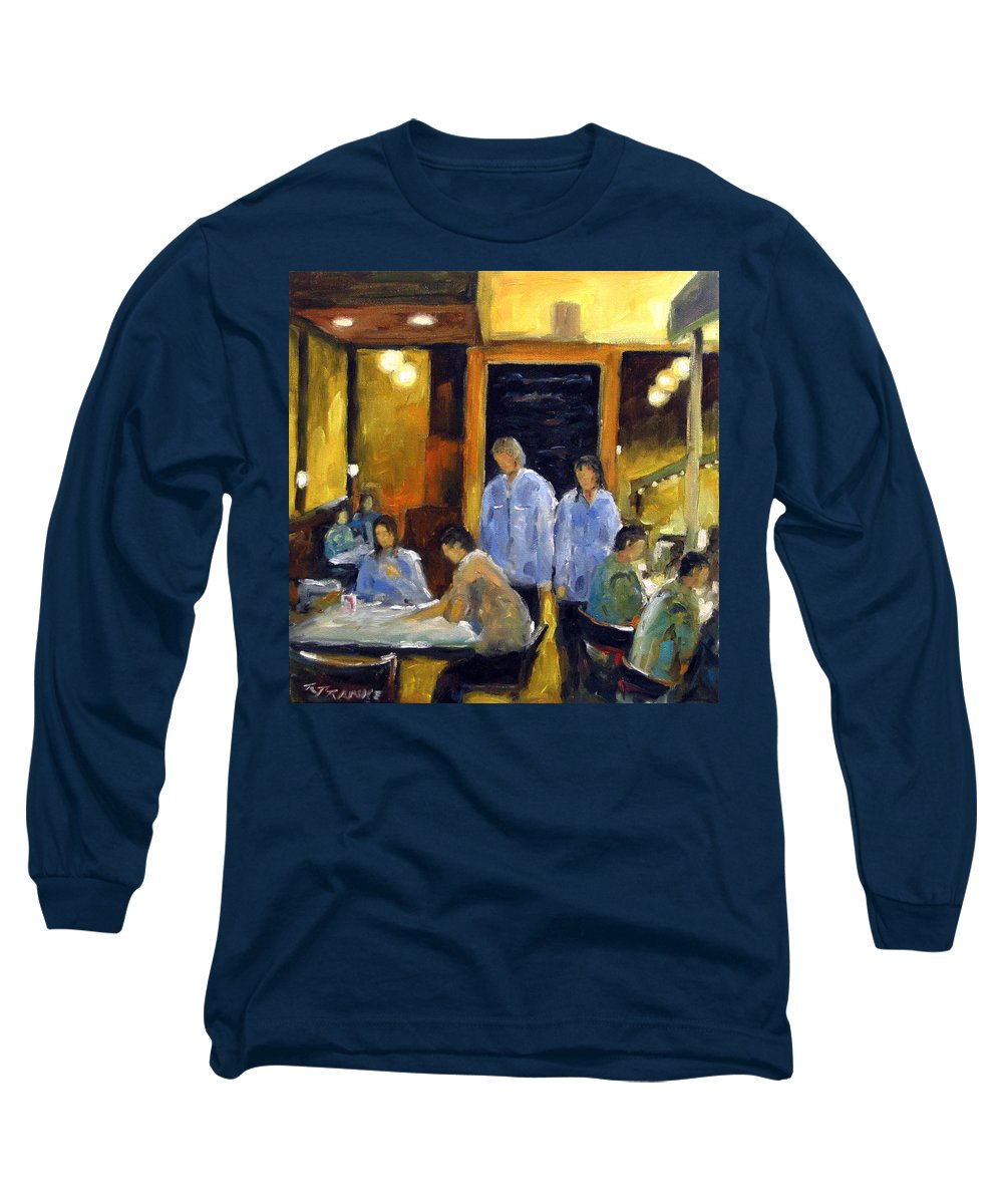 Urban Long Sleeve T-Shirt featuring the painting Cafe Des Artistes by Richard T Pranke