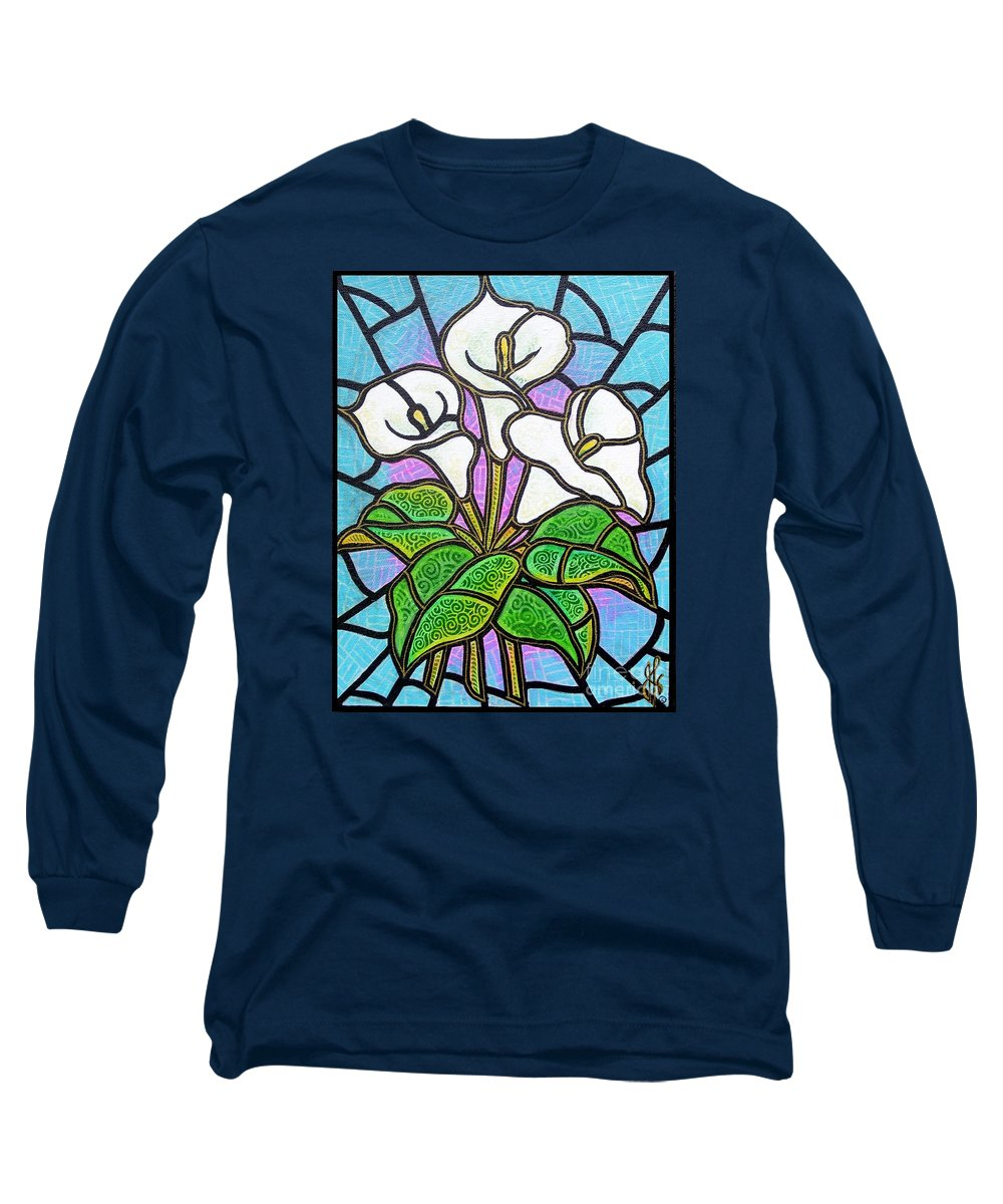 Flowers Long Sleeve T-Shirt featuring the painting Calla Lilies 3 by Jim Harris