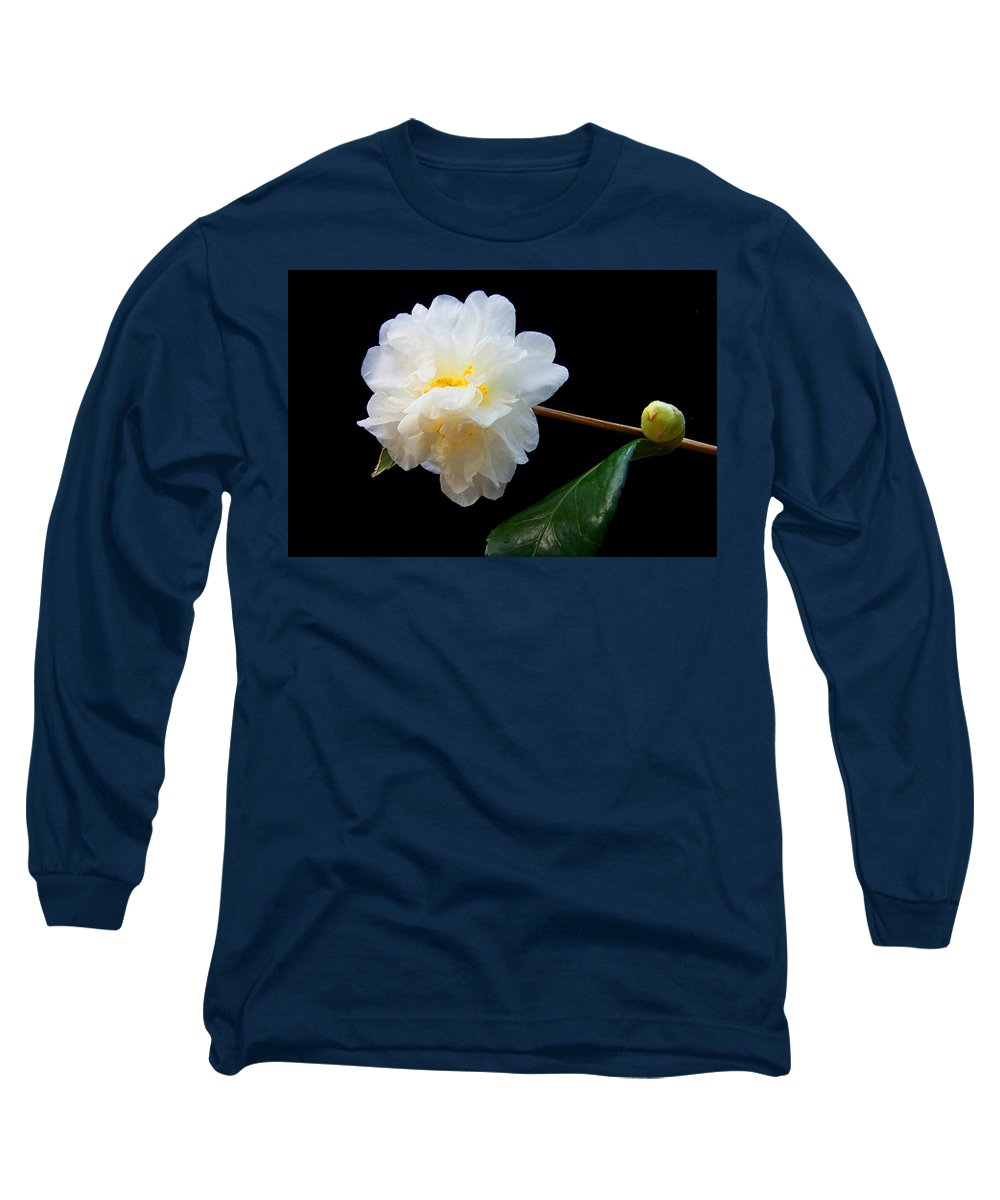 Camelia Long Sleeve T-Shirt featuring the photograph Camelia Trio by Laurie Paci