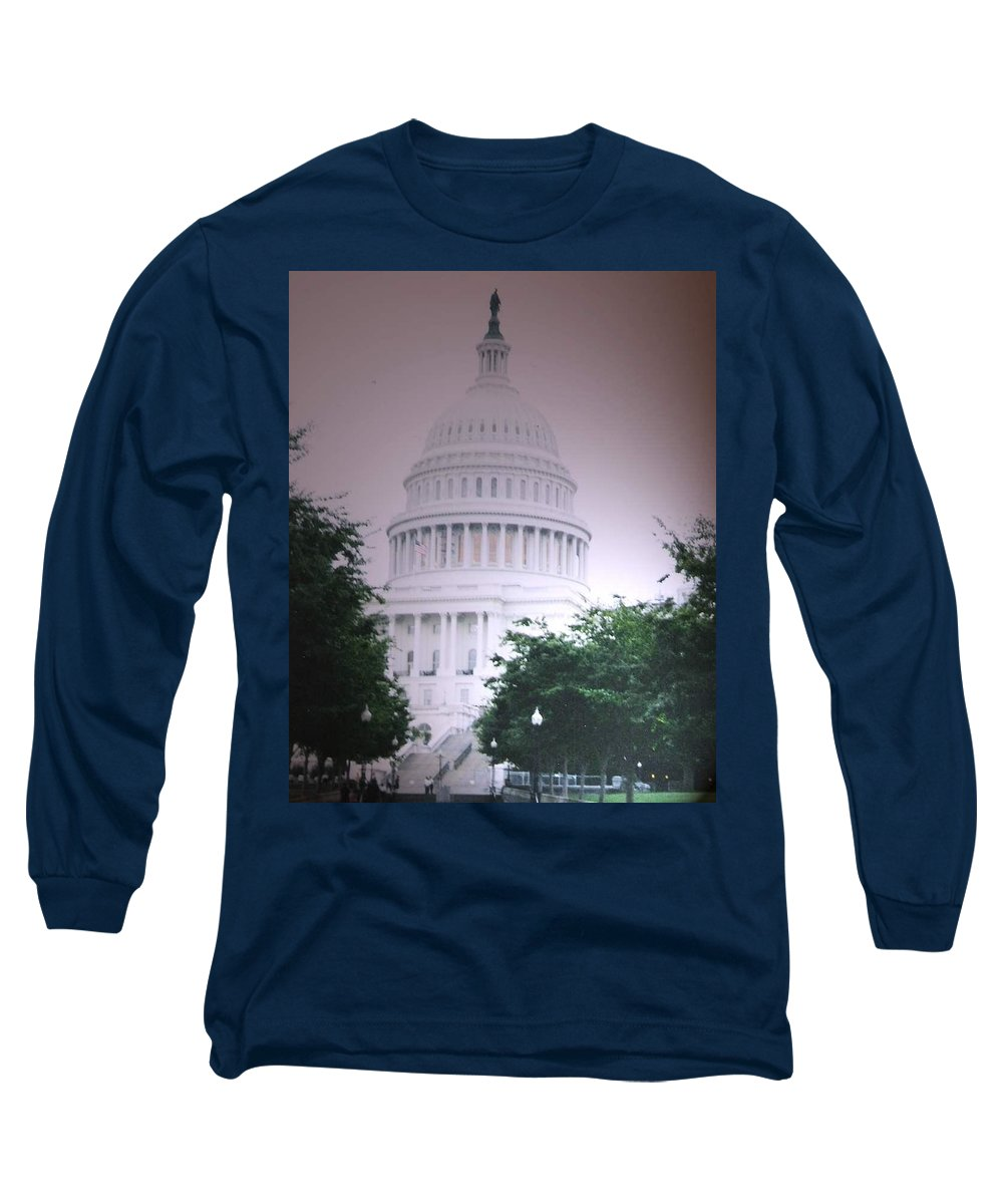 Capitol Long Sleeve T-Shirt featuring the photograph Capitol In Pink by Pharris Art