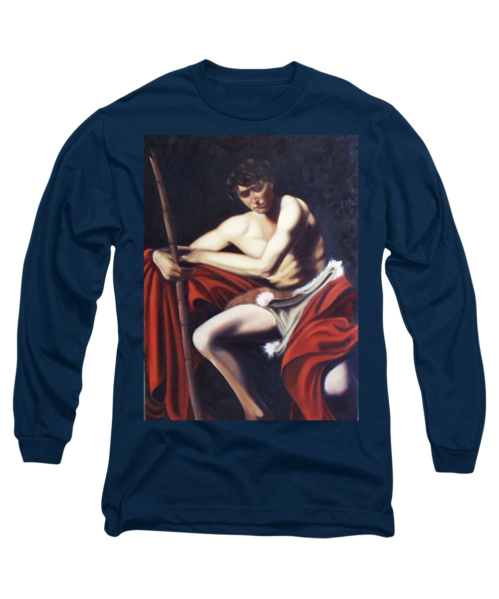 Caravaggio Long Sleeve T-Shirt featuring the painting Caravaggio's John The Baptist Study by Toni Berry