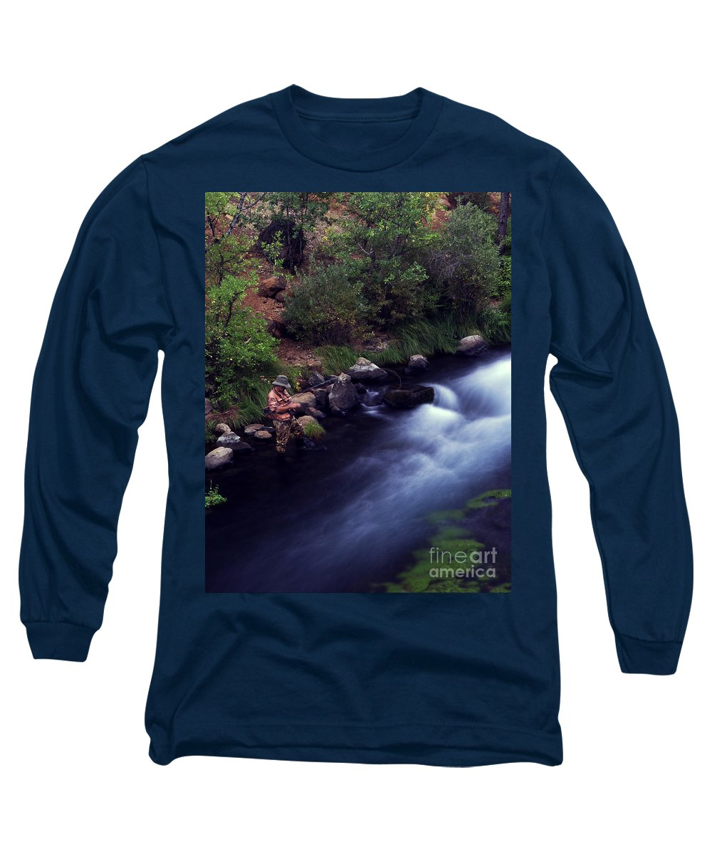 Fishing Long Sleeve T-Shirt featuring the photograph Casting Softly by Peter Piatt