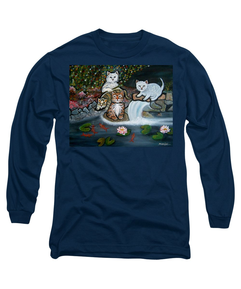 Acrylic Art Landscape Cats Animals Figurative Waterfall Fish Trees Long Sleeve T-Shirt featuring the painting Cats In The Wild by Manjiri Kanvinde