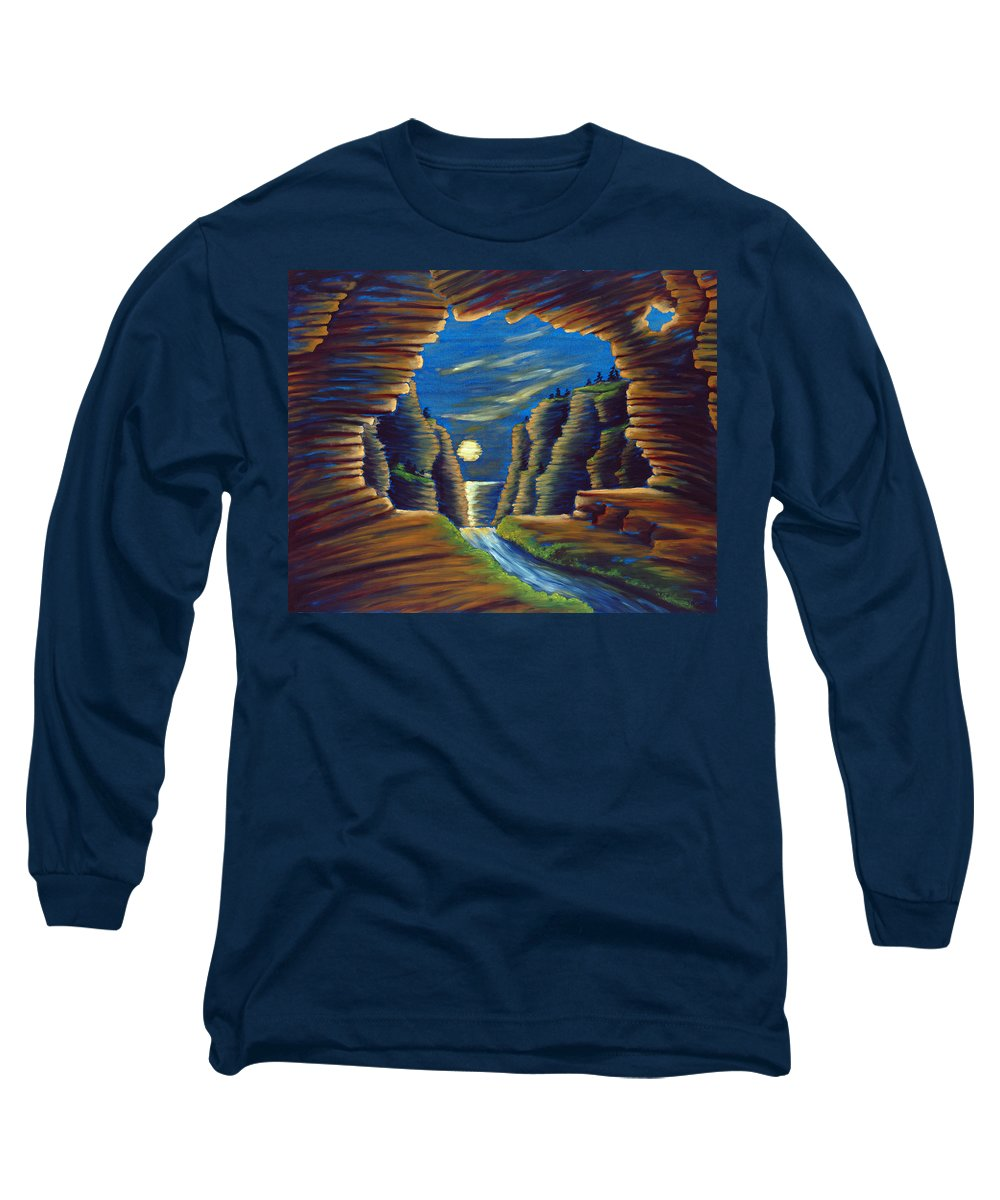 Cave Long Sleeve T-Shirt featuring the painting Cave With Cliffs by Jennifer McDuffie