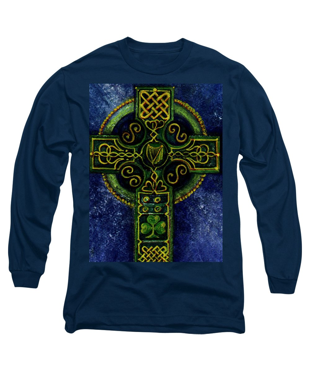 Elle Fagan Long Sleeve T-Shirt featuring the painting Celtic Cross - Harp by Elle Smith Fagan