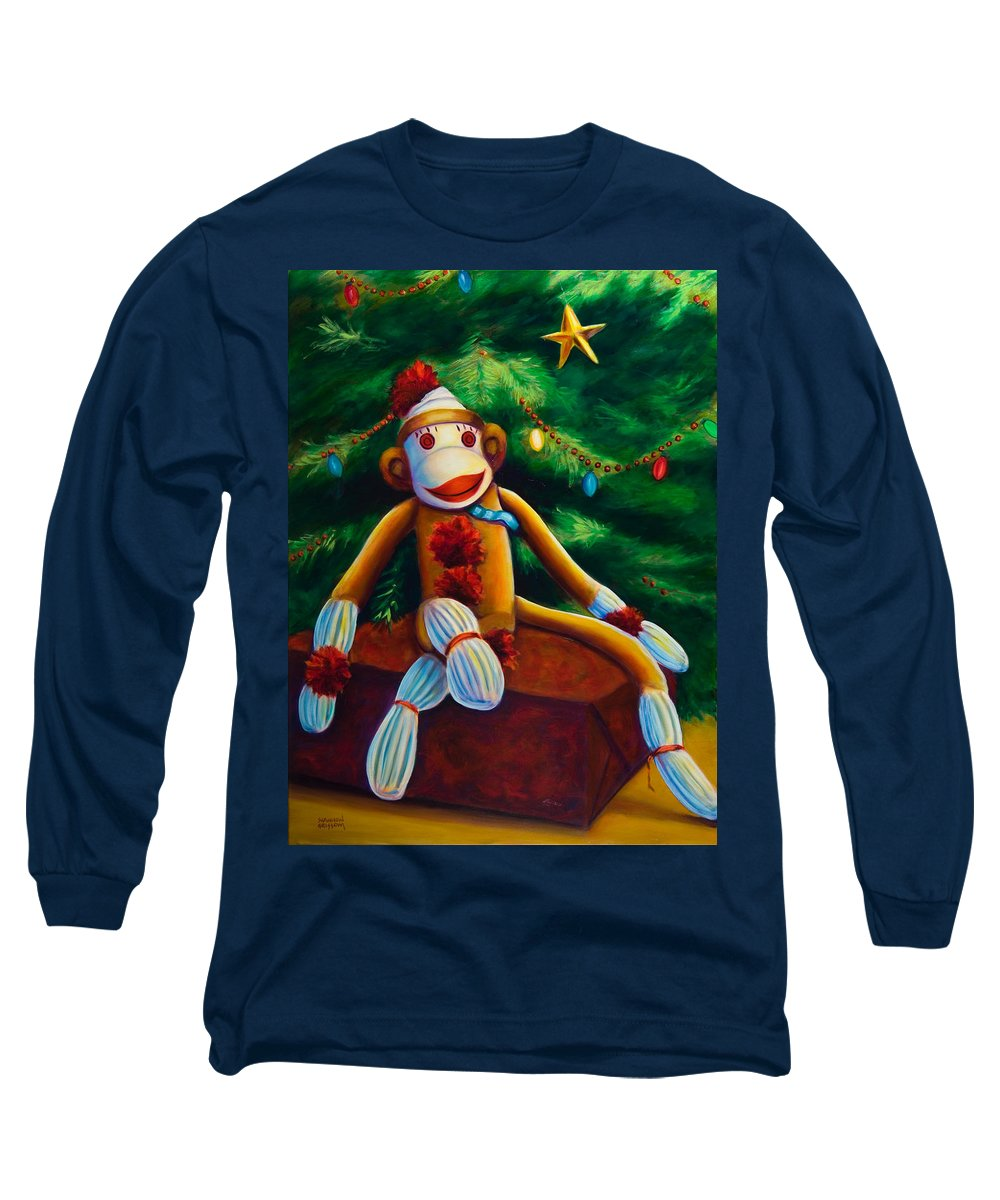 Sock Monkey Long Sleeve T-Shirt featuring the painting Christmas Made Of Sockies by Shannon Grissom