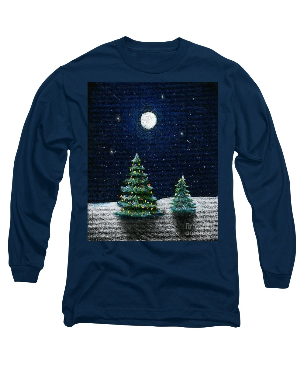 Christmas Trees Long Sleeve T-Shirt featuring the drawing Christmas Trees In The Moonlight by Nancy Mueller
