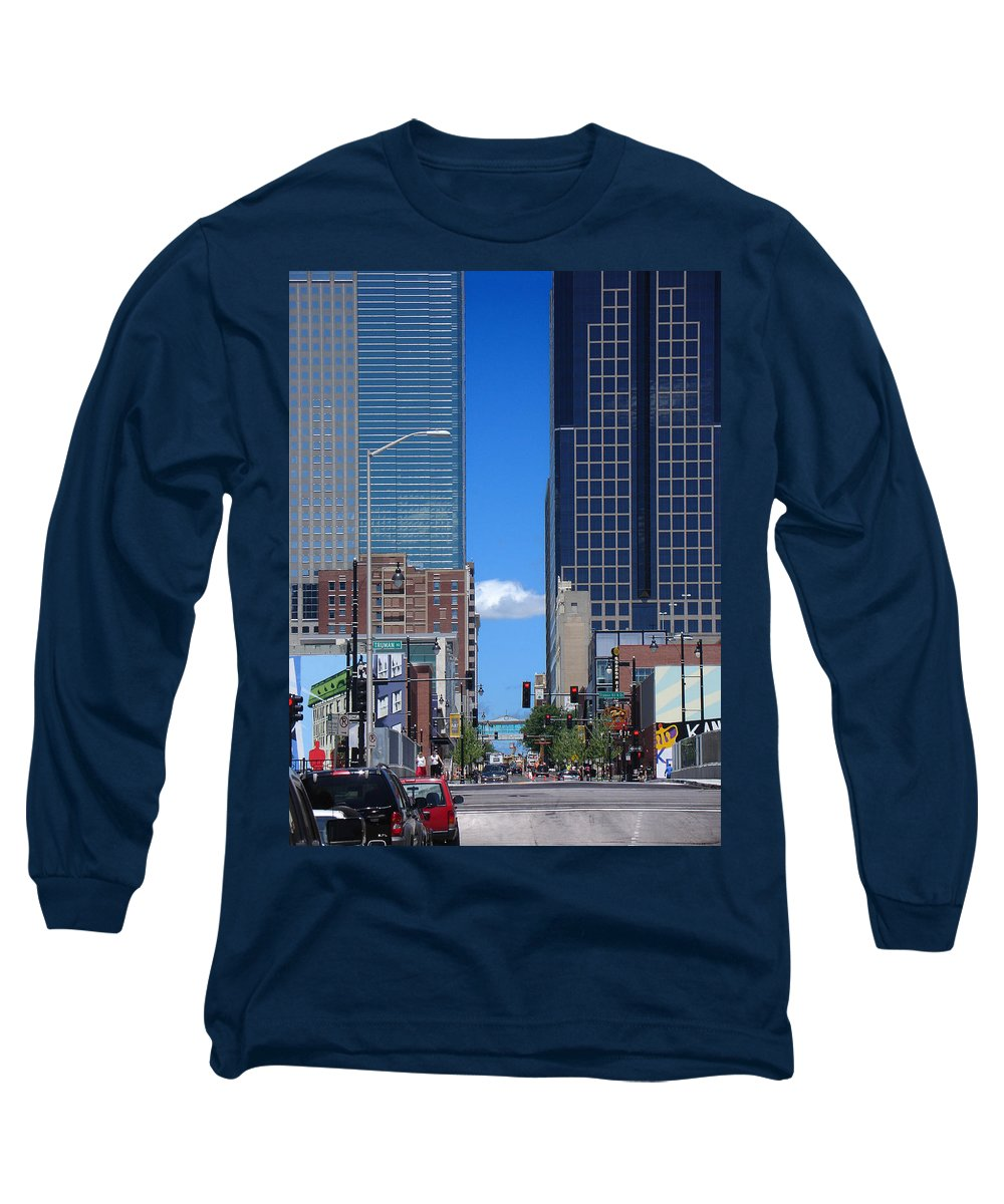 Kansas City Long Sleeve T-Shirt featuring the photograph City Street Canyon by Steve Karol