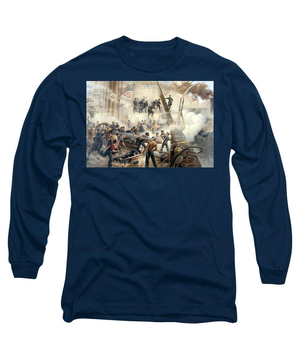 Civil War Long Sleeve T-Shirt featuring the painting Civil War Naval Battle by War Is Hell Store