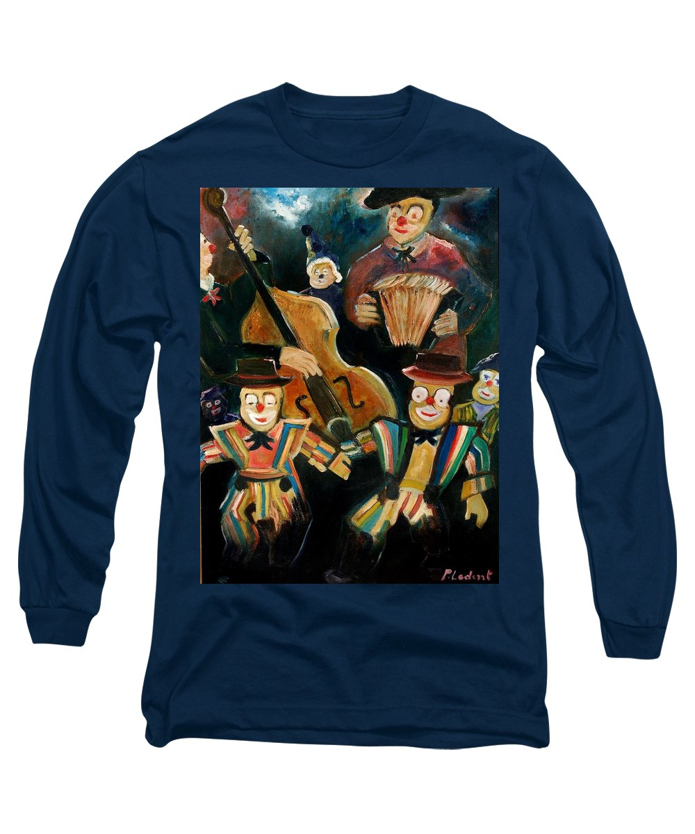 Clowns Circus Long Sleeve T-Shirt featuring the print Clowns by Pol Ledent