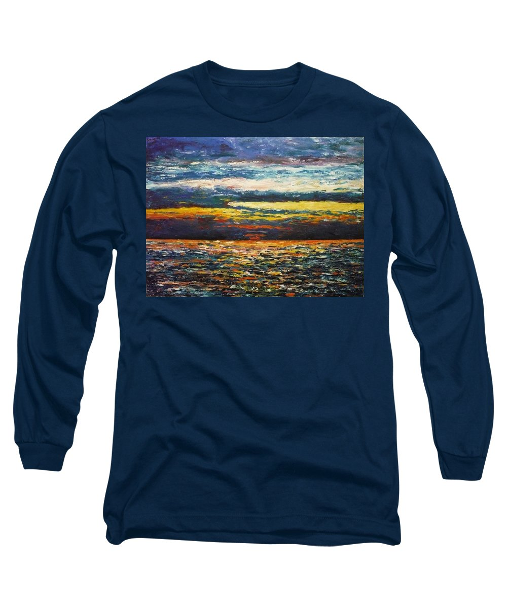 Landscape Long Sleeve T-Shirt featuring the painting Cold Sunset by Ericka Herazo