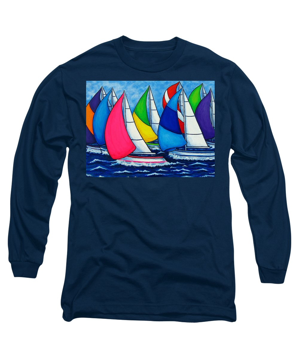 Boats Long Sleeve T-Shirt featuring the painting Colourful Regatta by Lisa Lorenz