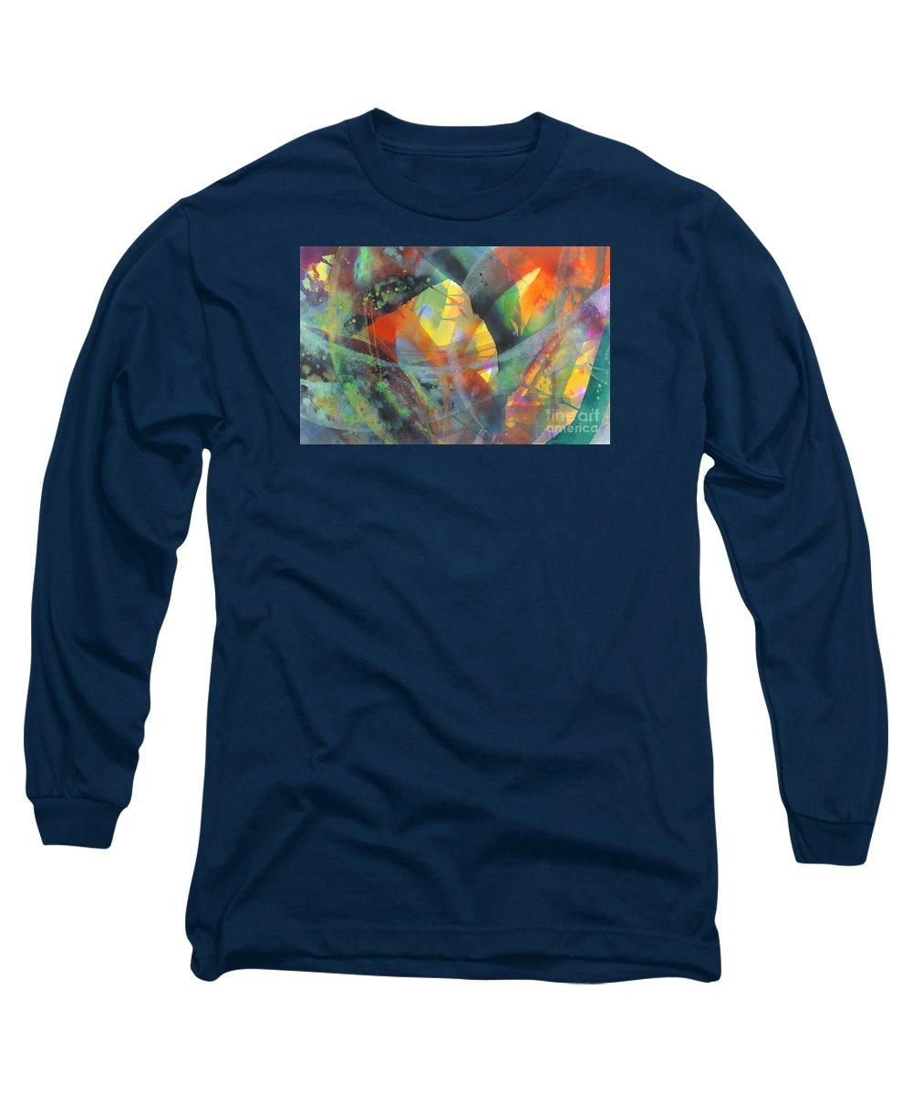 Abstract Long Sleeve T-Shirt featuring the painting Connections by Lucy Arnold