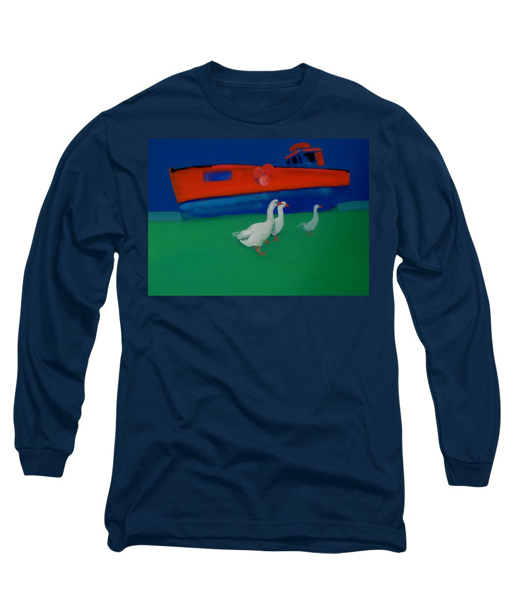 Geese Long Sleeve T-Shirt featuring the painting Cool And Dry by Charles Stuart