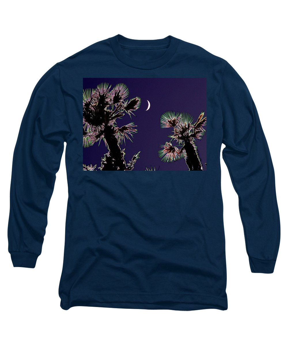Moon Long Sleeve T-Shirt featuring the photograph Crescent And Palms by Tim Allen