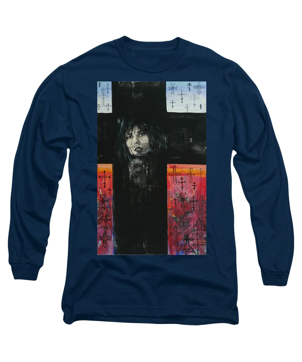 Cross Long Sleeve T-Shirt featuring the painting Crossroad by Yelena Tylkina